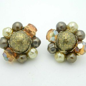 Japan Faux Pearl Gold Art Glass Bead Beaded Clip
